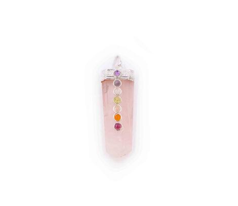 Rose Quartz seven chakra pendant 7 stones - Crystal Dreams