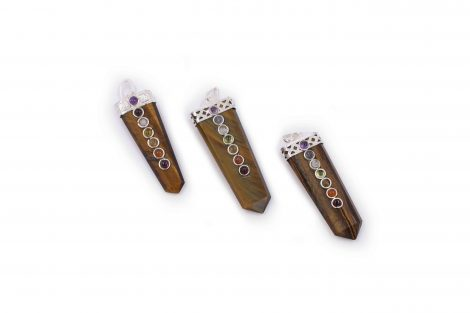 Tiger Eye 7 chakra flat pendant- Crystal Dreams