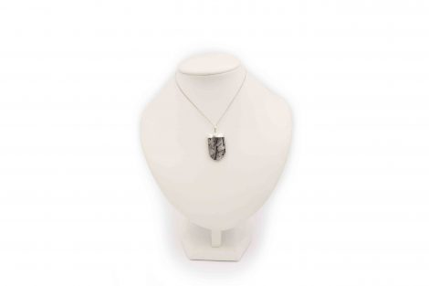 "Tourmalinated Quartz ''U"" shape pendant sterling silver - Crystal Dreams"