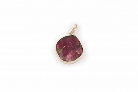 "Watermelon Tourmaline ""Slice"" Pendant Sterling Silver - Crystal Dreams"