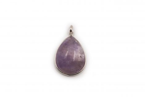 "Amethyst ""Drop"" Cabochon Pendant sterling Silver- Crystal Dreams"