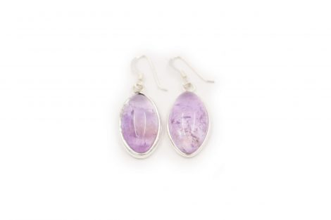 Amethyst Navette cabochon Earrings Sterling Silver - Crystal Dreams