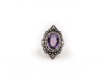 Amethyst Ovoid Ring In Sterling Silver