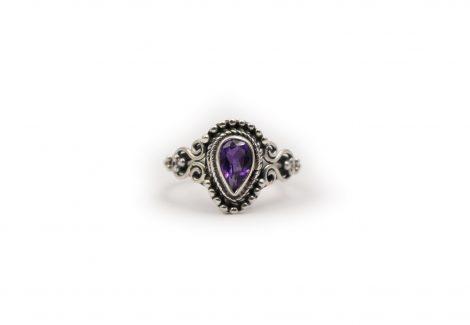 "Amethyst ""Tear"" Ring In Sterling Silver - Crystal Dreams"