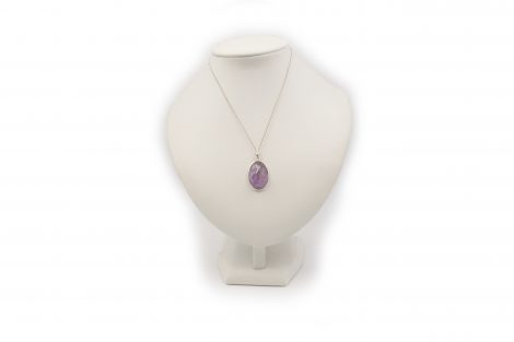 "Amethyst ""Faceted"" Cabochon Sterling Silver Pendant- Crystal Dreams"