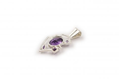 "Amethyst ""Thunder"" Pendant in Sterling Silver- Crystal Dreams"
