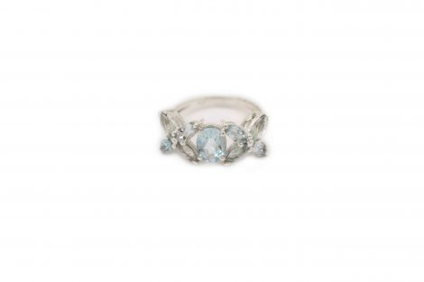Blue Topaz Flower Sterling Silver Ring - Crystal Dreams