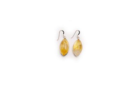 Citrine Navette Cabochon Earrings Sterling Silver - Crystal Dreams