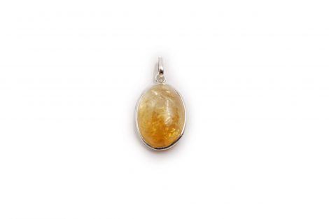 Citrine Oval Cabochon Pendant Sterling Silver - Crystal Dreams