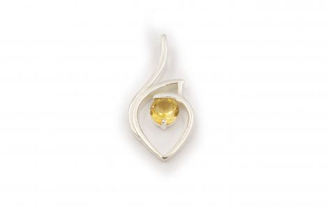 "Citrine ""Tear"" Pendant in Sterling Silver- Crystal Dreams"