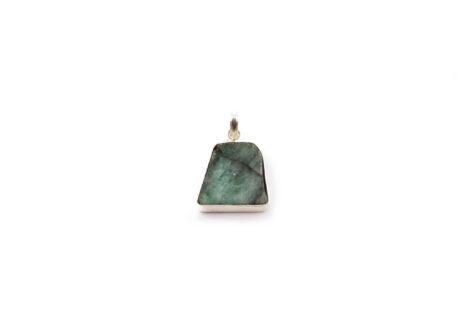 Emerald Slice Pendant Sterling Silver - Crystal Dreams