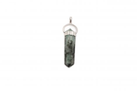 "Emerald ""Twin Point"" Sterling Silver Pendant- Crystal Dreams"