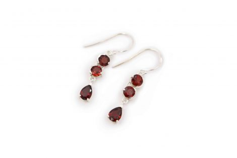 "Garnet ""Triple"" Sterling Silver Earrings - Crystal Dreams"