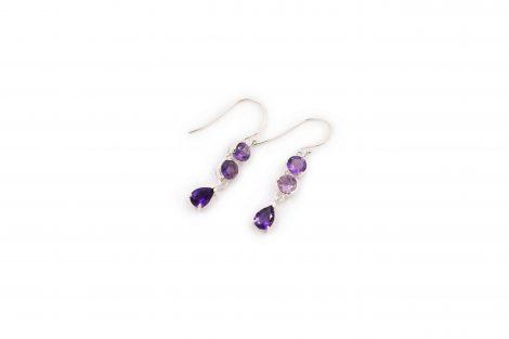 Triple Amethyst Sterling Silver Earrings - Crystal Dreams