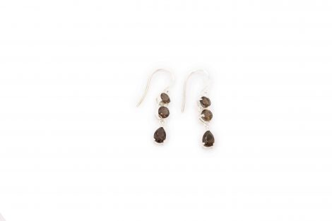 Triple Smoky Quartz Steling Silver Earrings - Crystal Dreams