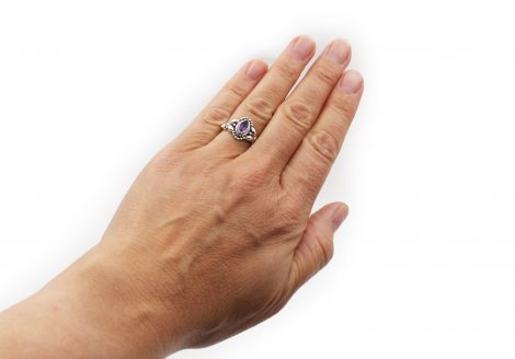 Amethyst Ovate Sterling Silver Ring