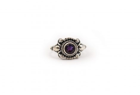 Amethyst Round Gem Sterling Silver Ring - Crystal Dreams