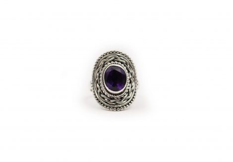 Amethyst Round Sterling Silver Ring - Crystal Dreams