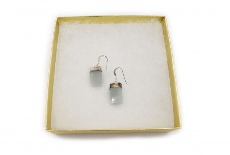 "Aquamarine Sterling Silver ""Flat"" Earrings - Crystal Dreams"