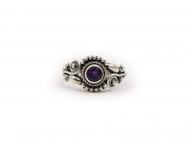 Amethyst Circle Sterling Silver Ring - Crystal Dreams