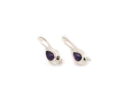 Flat Amethyst Sterling Silver Earrings - Crystal Dreams