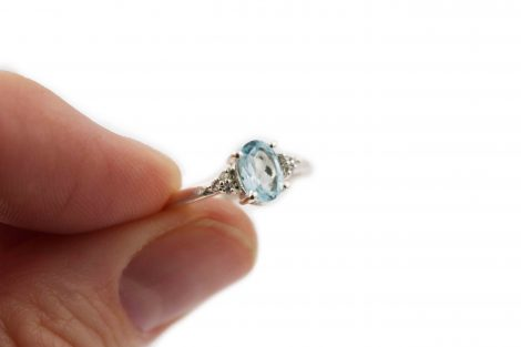 Natural Blue topaz Sterling Silver ring