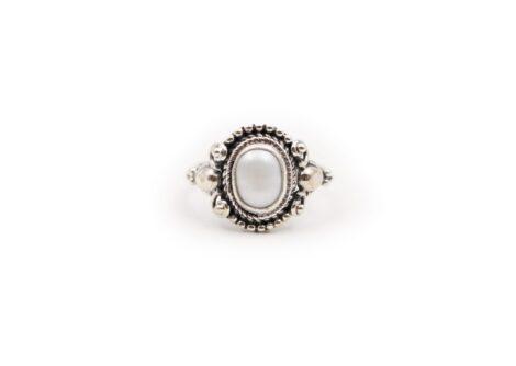 Natural Pearl Cabochon Sterling Silver Ring - Crystal Dreams