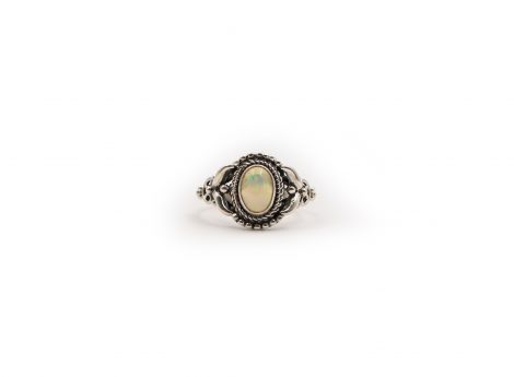 Opal Rondelle Ring Sterling Silver