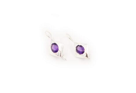 Rhombus Amethyst Sterling Silver Earrings - Crystal Dreams