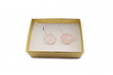 Rose Quartz Circle Cabochon Sterling Silver Earrings - Crystal Dreams