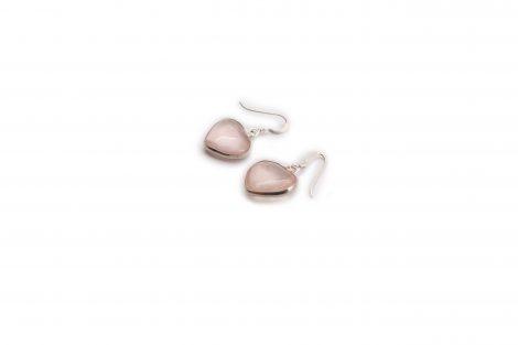 Rose Quartz Single Heart Silver Earrings - Crystal Dreams