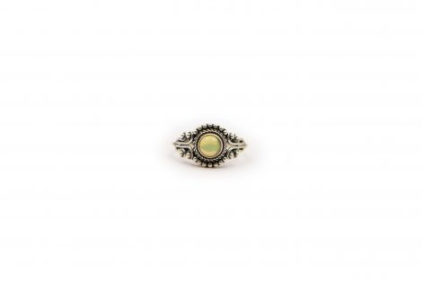 Round Opal Sterling Silver Ring