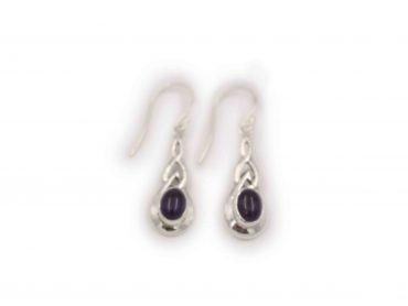 Small Flat Amethyst Sterling Silver Earrings - Crystal Dreams