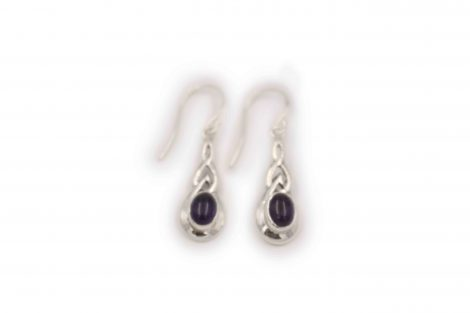 Small Flat Amethyst Sterling Silver Earrings - Crystal Dreams