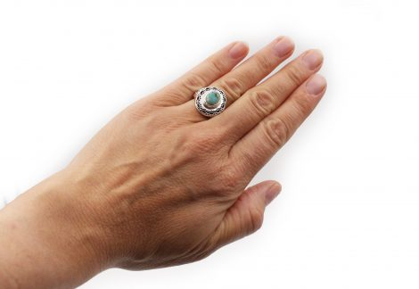 Turquoise Contour Sterling Silver Ring - Crystal Dreams