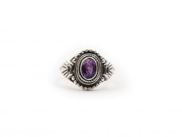 Amethyst Elliptic Sterling Silver Ring