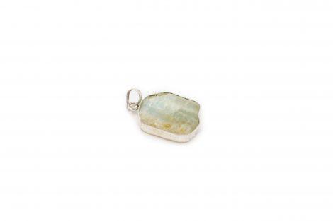 Aquamarine Slice Pendant Sterling Silver