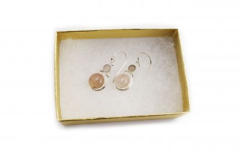 Double Rose Quartz Sterling Silver Earrings