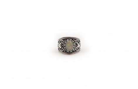 Opal Oval Ring In Sterling Silver