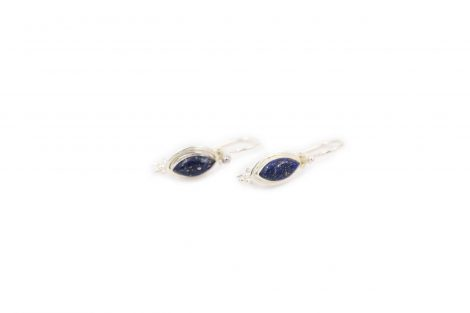 Slim Lapis Lazuli Sterling Silver Earrings