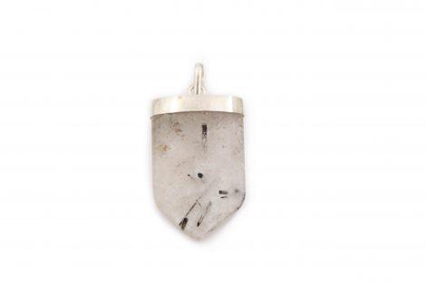 Tourmalinated Quartz V Quartz Pendant Silver