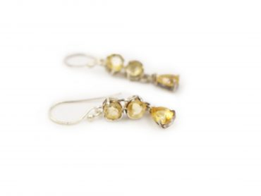 Triple Citrine Sterling Silver Earrings