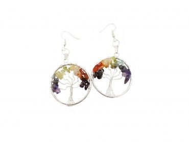 Chakra Tree of life India earrings-Crystal Dreams