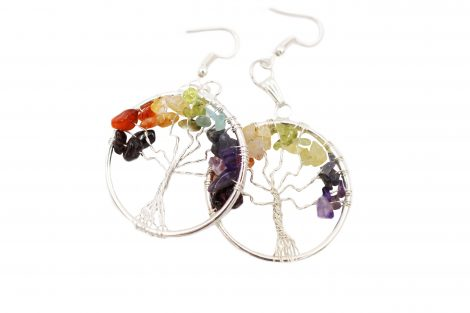 Chakra Tree of life India earrings-Crystal Dreams