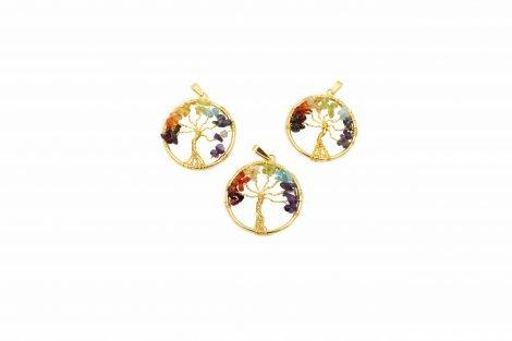Golden Chakra Tree of Life Pendant - Crystal Dreams