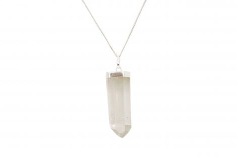 Polished Clear Quartz Point Pendant Sterling Silver - Crystal Dreams