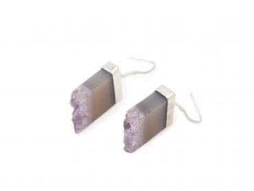 Amethyst Rough Square Earrings Sterling Silver - Crystal Dreams