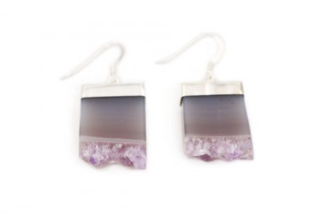 Amethyst Rough Square Earrings Sterling Silver - Crystal Dreams