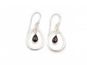 Garnet Bubble sterling silver Earrings - Crystal Dreams