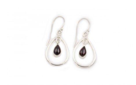 Garnet Bubble sterling silver Earrings - Crystal Dreams